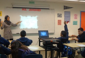 Serish Jamshed is speaking to her class. She was experiencing her first cycle as an enrichment teacher.