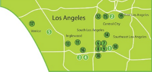 This is a map showing the locations of Green Dot Public Schools in Southern California.