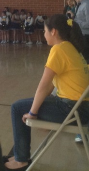 Student Council Officer of Public Relations Tannya Yebra is looking attentively at the game. She said,