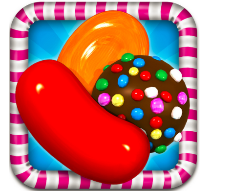 This is the logo of the app, The Candy Crush Saga. Over thousands download this game every day.