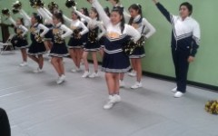 The cheerleaders performing at the ceremomy.