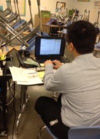 Math teacher Thomas Lo is working on his lesson plans. He wakes up really early to have prepared his lessons that he will be teaching.