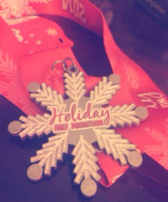 This is the medal students received at the Holiday Half Marathon.