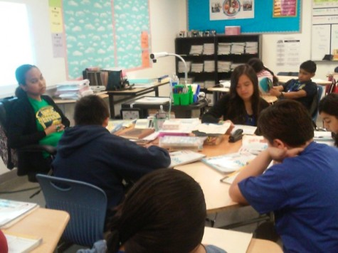 Teacher helping students with their reading