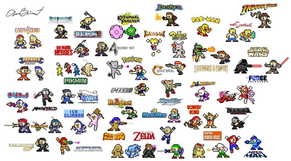 These are many game characters remade in an 8-bit megaman style. Credit goes GameBomb.