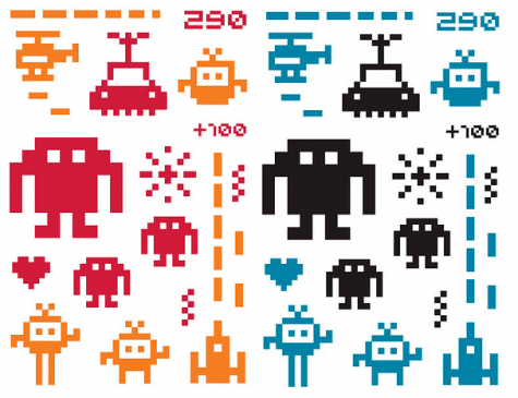 These sprites are a few of the space invaders sprites used in the game Space Invaders