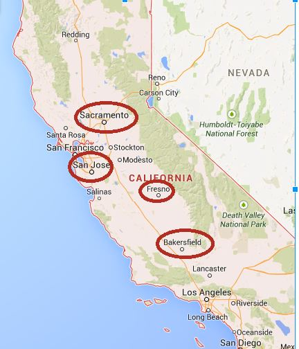 These are the most affected places in California.