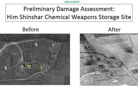 This is a before and after image of a chemical weapons site in Syria.