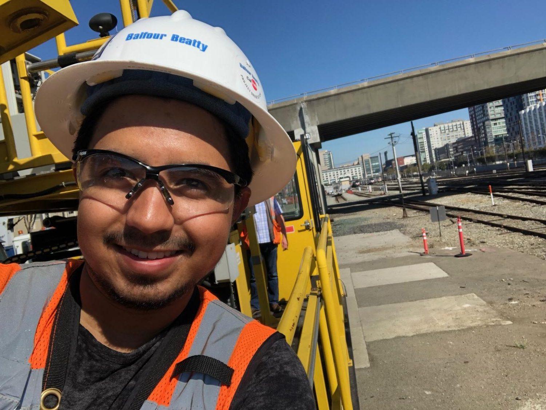 Jose Galvan at work as a construction engineer