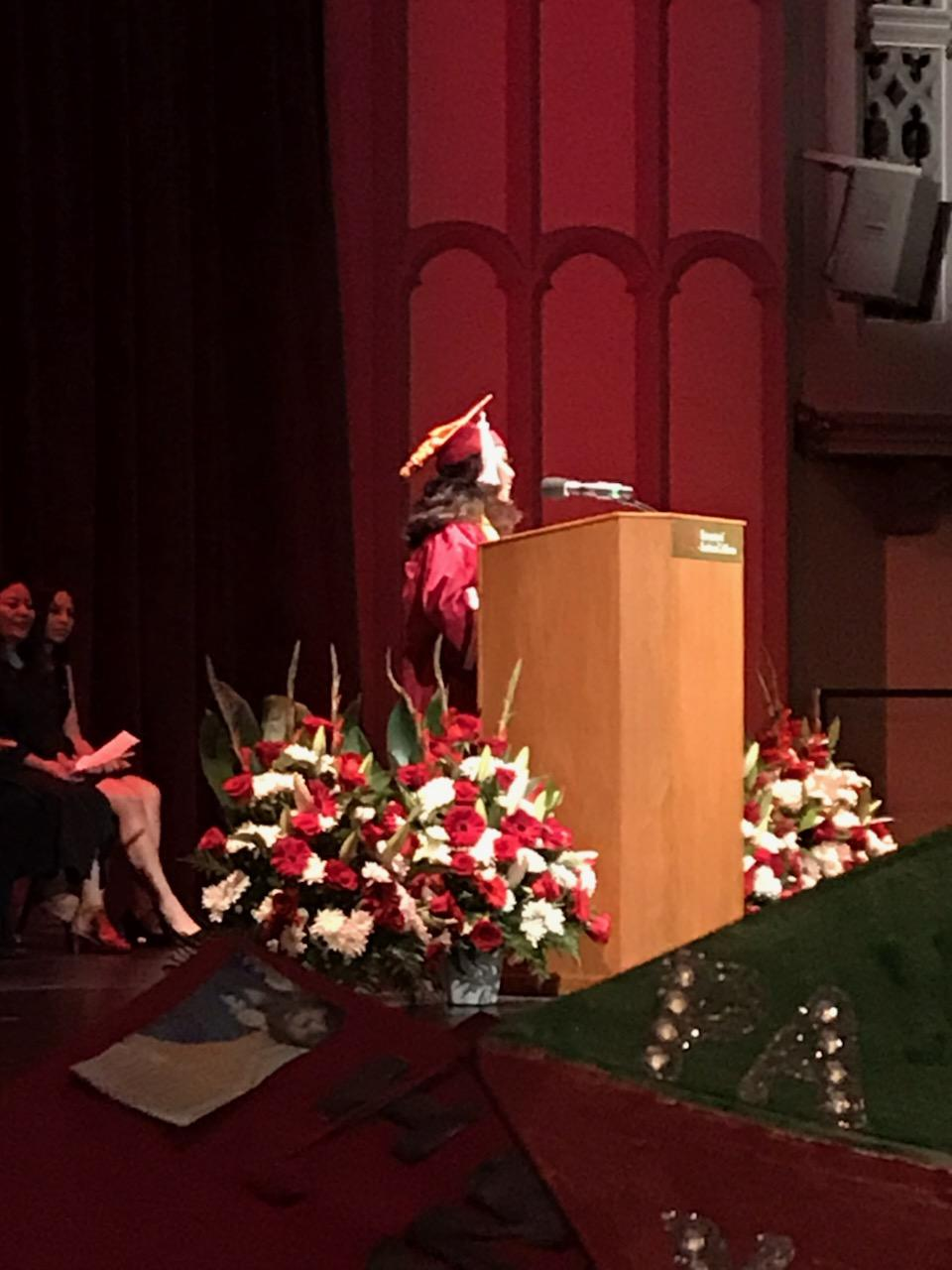 Alejandra Castillo delivers her valedictorian speech.