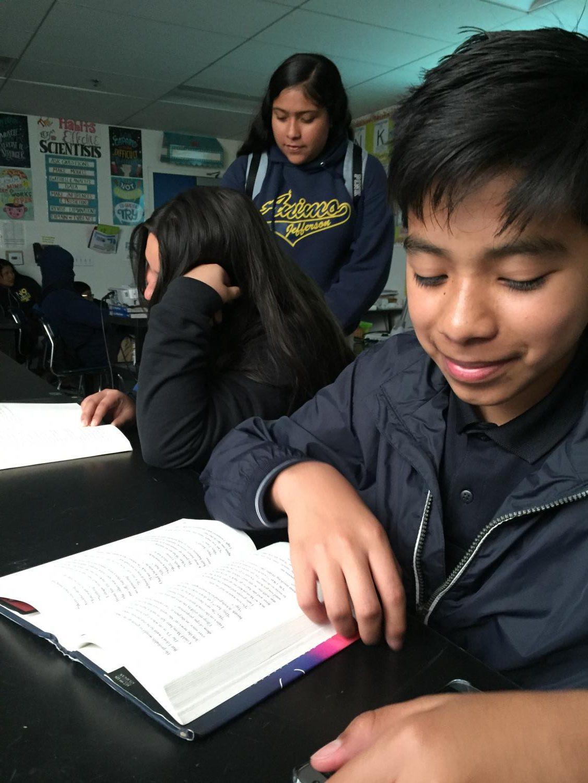 Samuel Dominguez studying