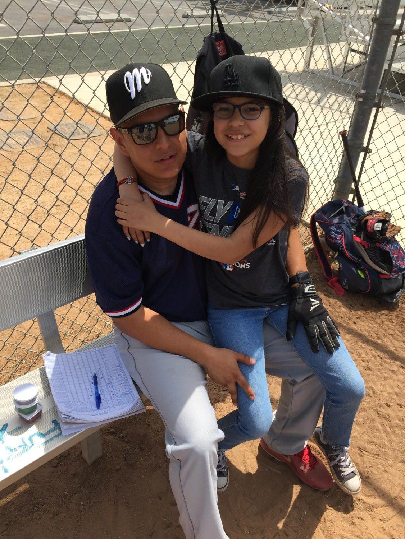 Delailah Sigala at her dad's, Juan Sigala, baseball game.