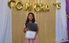 Brenda Valerio graduating from middle school.