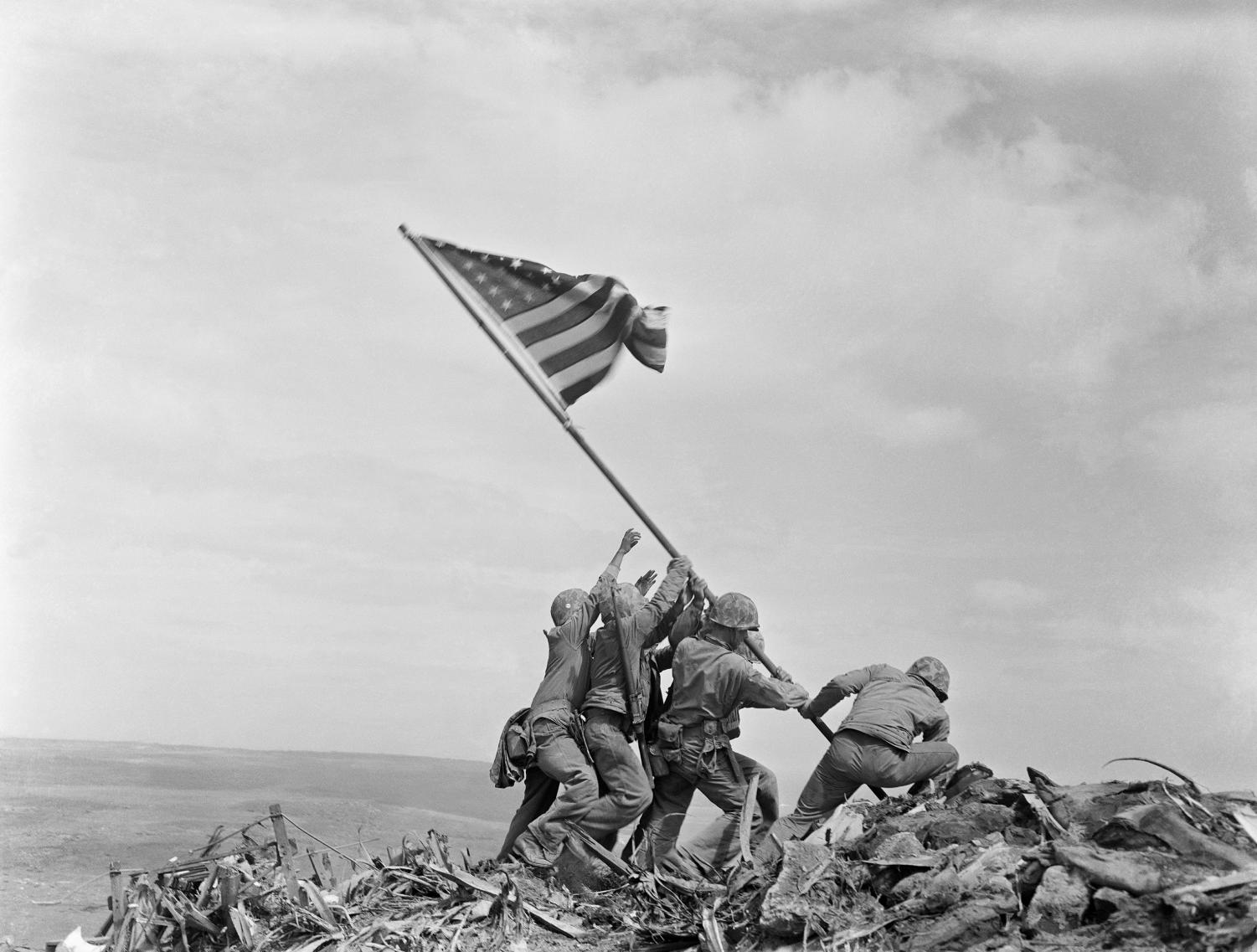 The original photo of the Flag raising