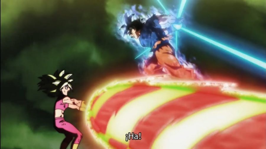 This is a image of when Goku uses his new form to fight in the Tournament of Power. It also shows Kefla use all her power to try to stop Goku from getting too close.