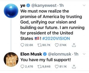 Kanye West's controversial announcement that he is running for president on July 4, 2020.
