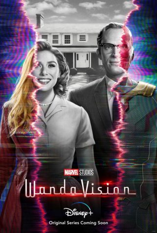 This picture is the cover of WandaVision. It shows the show title and  Wanda and Vision, one in half black and white, and the other half in color.