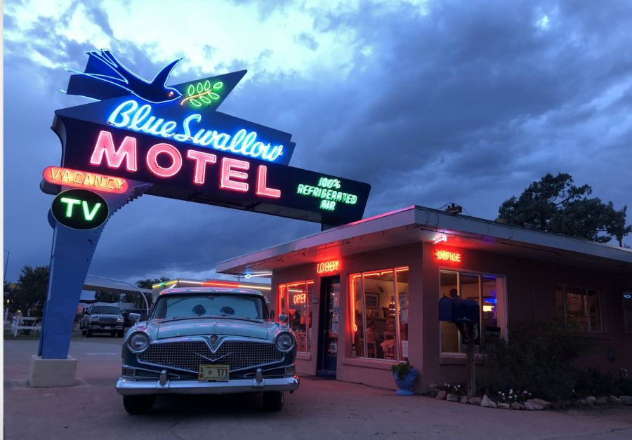 Enjoying sunset at my stop for the night: the Blue Swallow Motel in Tecumcari, New Mexico.  During my night here, I met the brand new owners from Chicago, who fell in love with the place and were signing the transfer papers with the original owner that night.  The Cadillac came with the property, but the deed stipulates that the car must stay in town.  For most of my cross country drive, I took historic Route 66.