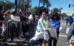 Dulce just after finishing the marathon.